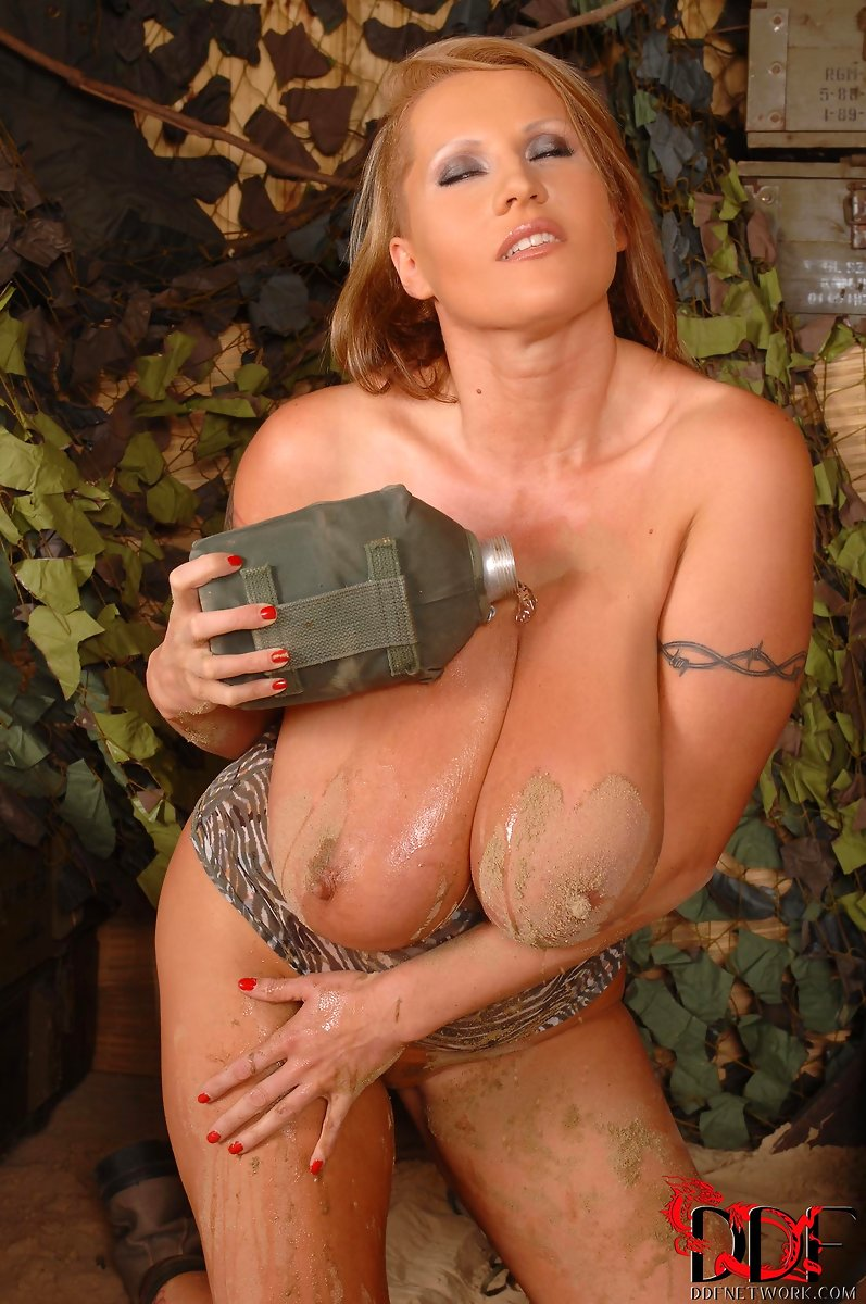 Busty babe soldier